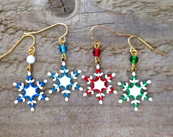 Hand Painted Snowflake Earrings, Winter Earrings, Holiday Earrings, Vineyard Jewelry, Light Weight Brass