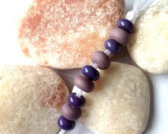 9 'Purple Haze' Lampwork Spacer Beads SRA