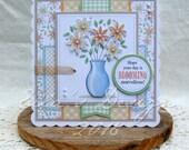 Flower vase predesigned card kit