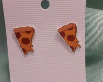 Pizza earrings ~hypoallergenic and nickel free~
