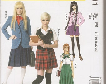 McCall's Costumes sewing pattern 7141 Japanese school girl costumes cosplay anime sizes 14-22