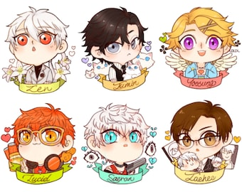 Mystic Messenger Chibi Buttons + Stickers
