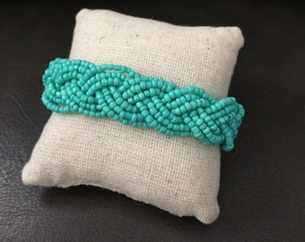 Aqua beaded bracelet, braided cuff bracelet, boho bracelet, aqua gold cuff bracelet, aqua bracelet, aqua bridesmaids, aqua beaded cuff, aqua