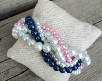 Braided cuff, white pearl bracelet, bridesmaids bracelet, navy bracelet, pearl bracelet, pink bracelet, navy bridesmaids, pink and navy,