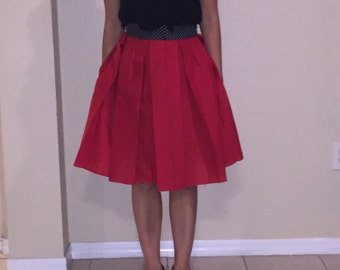 Polka dot and red skirt