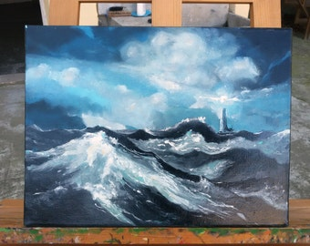 Original Painting Oil on Canvas Hand Painted Sea Storm Clouds Blue Ocean Seascape Marine Beautiful Art