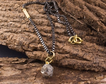 Golden Fool Necklace, Pyrite Pendant, Pyrite Necklace, Men's Pyrite Necklace, Gunmetal Necklace, Box Chain Necklace, Men's Jewelry