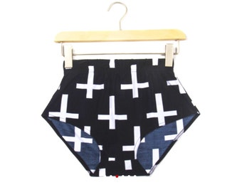 Black with white crosses high waisted swimwear bottoms or hot shorts