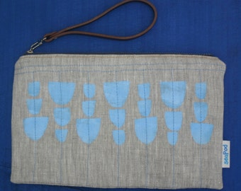 Handmade Natural Linen Clutch with Cup Print