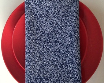 Crisp, Cool, and Navy Blue: Handmade Cloth Dinner Napkins