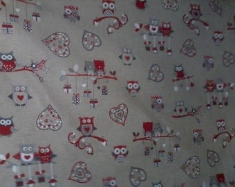 Fabric red owls