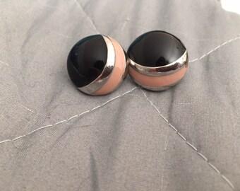 Black and Pink Stud Earrings