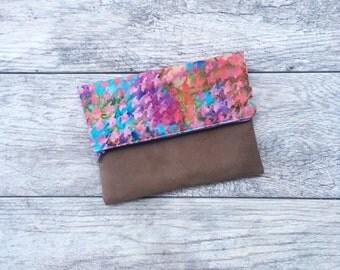 Foldover Zipper Pouch - Boho Foldover Clutch - Fold Over Envelope Clutch - Patterned Fabric Pouch - Foldover Style Clutch - Foldover Handbag
