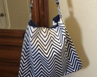 Chevron Cotton Shoulder Bag, Shoulder Bag, Navy and White Shoulder Bag