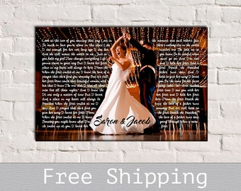 Wedding Song Lyric Art - First Dance Song Lyrics - Song Lyrics Art - 1st Anniversary Gift - Anniversary Gift - Free Shipping