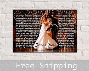 Wedding Song Lyric Art - First Dance Song Lyrics - Song Lyrics Art - 1st Anniversary Gift - Anniversary Gift - Free Shipping
