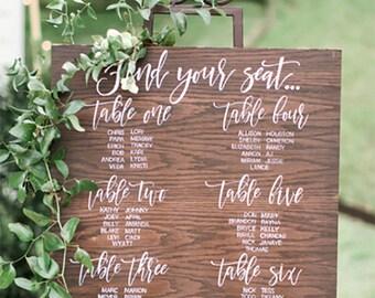 Wedding Seating Chart | Table Plan | Timber Look | Digital | Printable | A