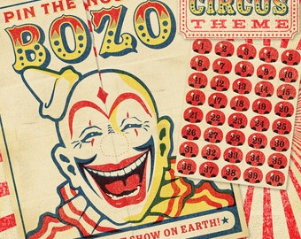 Vintage Circus Theme: Pin the Nose on Bozo Party Game Digital File