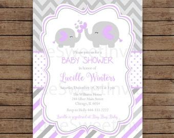 Printable Purple and Gray Elephant Baby Shower, Digital Invitation, JPEG 300DPI, 5x7 inches