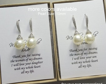 Mother of the Bride Earrings, Mother of the Groom Earrings, Swarovski 10mm Pearl Earrings, Mother of the Bride & Mother of the Groom Gift