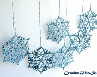 Crochet PATTERNS Christmas Snowflake Ornaments PDF Pattern Instant Download Lace snowflakes Christmas gift Christmas Decoration Home Decor