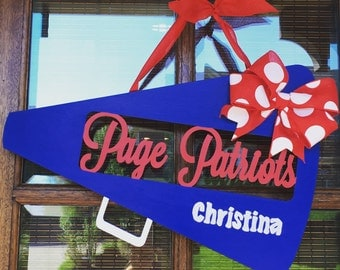 PERFECT GIFT - Totally CUSTOM Cheerleader personalized Painted Wooden Door Hanger Megaphone with ribbon