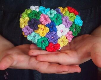 crochet pattern heart amigurumi, crochet heart pattern, Flower Heart, pattern crochet heart, yellow, pink, red, blue, purple, green, white