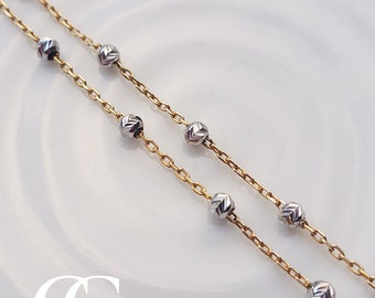 9ct Two Tone Gold Infinity Chain Necklace 17""