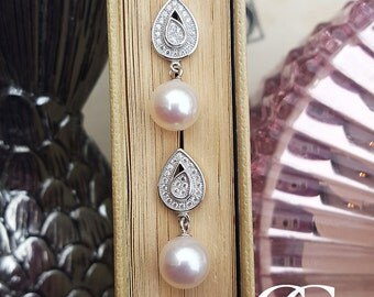 Sterling Silver Teardrop Earrings with Freshwater Pearl and Cubic Zirconia