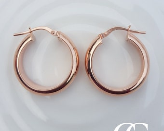 Fine 9ct Rose Gold Ladies 1.9cm Polished Creole Hoop Earrings