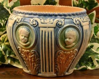 Roseville Pottery Planter, 1910 Cameo II Cherub Jardiniere Planter