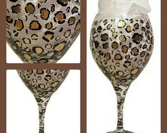 Hand painted cheetah print wine glass