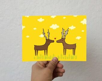 Cute Reindeer Holiday Greeting Card