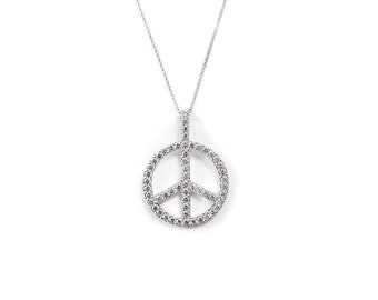 925 Sterling Silver Peace pendant with Chain