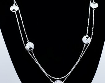 925 Sterling Silver Circle Patterned Necklace – 1.40 CT.TW (S152)