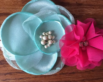 Big Sister/Little Sister Collection- mint green/pink/headbands/hair clips/headband and hair clip/customize/personalize/handmade
