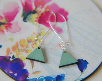 Geometric Sage Pendent Silver Earrings