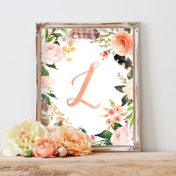 Floral Art, Nursery Decor, Wall Art, Nursery Wall Art, Nursery Artwork, Baby Gift, Floral Wreath Letter, Monogram, Blush, Peach, Rose, Coral