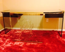 Pace Collection Glass Brass Desk by Leon Rosen Rare Mid Century Modern Design 1970's Vintage Collectible Furniture