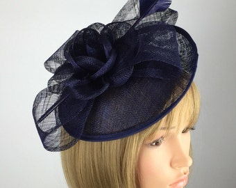 Dark Navy Blue Fascinator, Blue Wedding Fascinator on Hair Clip with elegant flower and quill