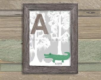Bayou Alphabet Critters. Letter A. Alligator. Children's room, Nursery. Digital print. Unique Original Woodland ABC's. Animals of Louisiana.