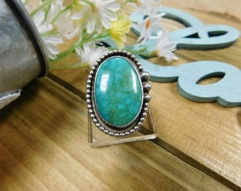 Sterling Silver Large Turquoise Ring Size 6 1/4