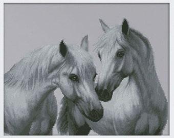 Cross Stitch Kit Faithfulness ( White Horses)
