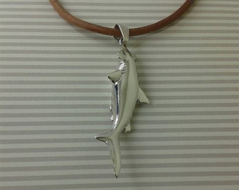fish shark in 925 solid silver with leather.