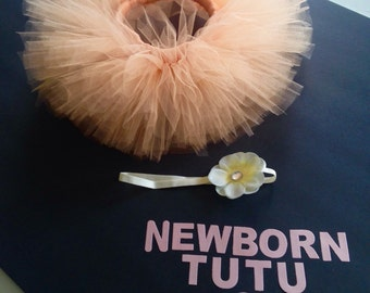 Peach Newborn Tutu, newborn tutu, baby tutu, tutu and matching bow, newborn photos