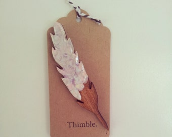laser cut wood feather brooch in pastel