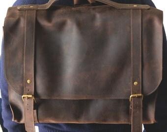 leather satchel messenger bag-shoulder bag-handmade leather bag
