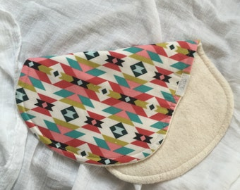 Tribal Pink Organic Cotton Sherpa Burp Cloth