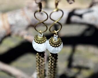 Rhinestone earrings and infinity symbol
