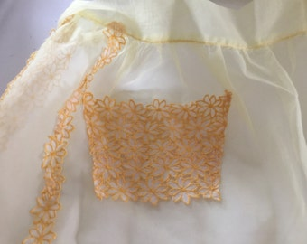 Chiffon hostess apron with embroidered daisies, free shipping!